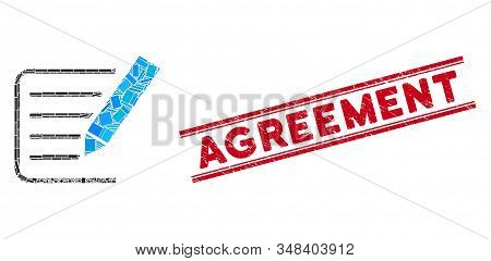 Mosaic sign agreement pictogram and red Agreement rubber print between double parallel lines. Flat vector sign agreement mosaic pictogram of random rotated rectangular items. stock photo