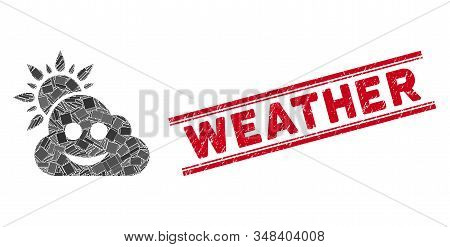 Mosaic smile weather icon and red Weather seal stamp between double parallel lines. Flat vector smile weather mosaic icon of scattered rotated rectangle elements. stock photo