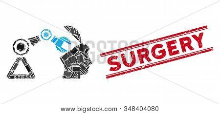 Mosaic open head surgery manipulator pictogram and red Surgery stamp between double parallel lines. Flat vector open head surgery manipulator mosaic pictogram of randomized rotated rectangle elements. stock photo