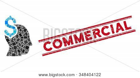 Mosaic commercial intellect icon and red Commercial stamp between double parallel lines. Flat vector commercial intellect mosaic pictogram of random rotated rectangle items. stock photo