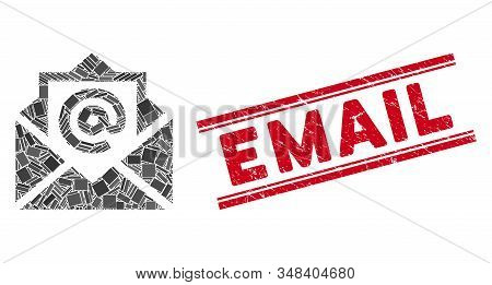 Mosaic email pictogram and red Email seal stamp between double parallel lines. Flat vector email mosaic pictogram of scattered rotated rectangular elements. Red Email seal with grunge textures. stock photo
