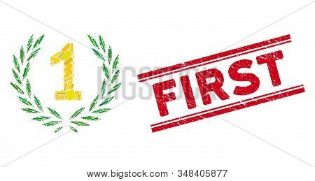 Mosaic first laurel wreath pictogram and red First seal stamp between double parallel lines. Flat vector first laurel wreath mosaic pictogram of scattered rotated rectangle items. stock photo