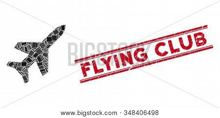 Mosaic aeroplane icon and red Flying Club seal stamp between double parallel lines. Flat vector aeroplane mosaic icon of scattered rotated rectangle items. stock photo