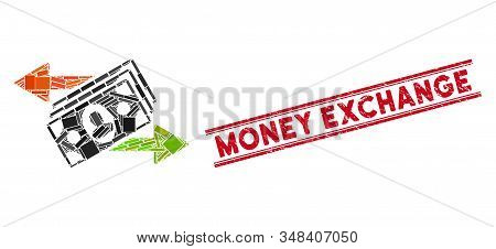 Mosaic money exchange pictogram and red Money Exchange stamp between double parallel lines. Flat vector money exchange mosaic icon of scattered rotated rectangle elements. stock photo