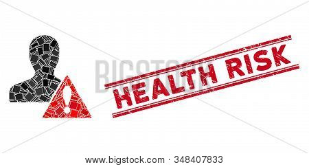Mosaic user risk management pictogram and red Health Risk rubber print between double parallel lines. Flat vector user risk management mosaic pictogram of randomized rotated rectangular elements. stock photo