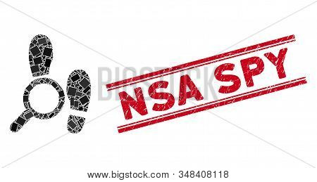 Mosaic explore footprints icon and red NSA Spy watermark between double parallel lines. Flat vector explore footprints mosaic icon of randomized rotated rectangle items. stock photo