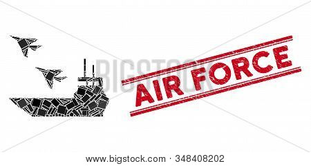 Mosaic aircraft carrier icon and red Air Force seal between double parallel lines. Flat vector aircraft carrier mosaic pictogram of randomized rotated rectangular elements. stock photo