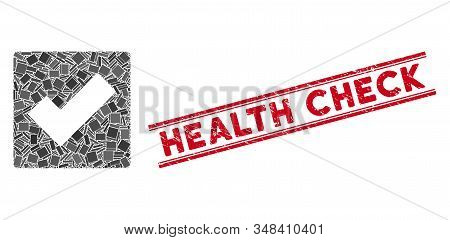 Mosaic check pictogram and red Health Check stamp between double parallel lines. Flat vector check mosaic pictogram of random rotated rectangular items. Red Health Check stamp with rubber textures. stock photo