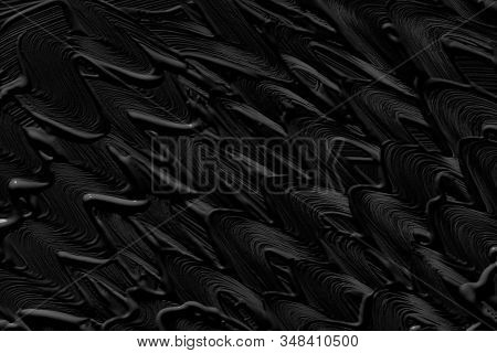 Black trendy color of the year 2020. Abstract art background with brush strokes. Monochrome color texture. trendy color of the year 2020. Abstract art background with brush strokes. Hand drawn painting. Monochrome color texture. Spots of paint. Volumetric stock photo