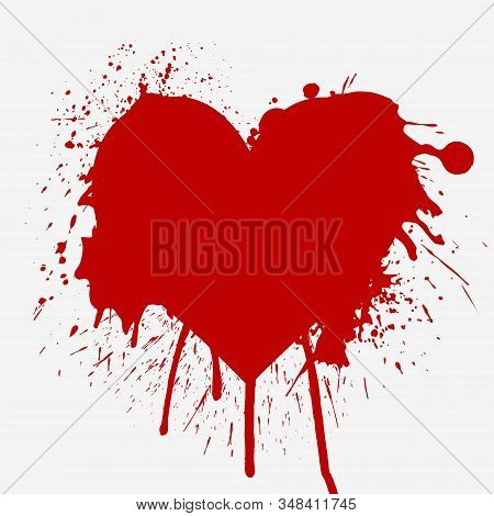 Heart shaped red splash vector illustration isolated on white. Creative Donate blood motivation donor poster. Blood Donation. World Blood Donor Day banner. Grunge red heart texture. stock photo