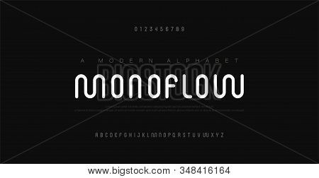 Minimal modern alphabet fonts and numbers. Abstract urban rounded line font typography typeface uppercase. vector illustration stock photo