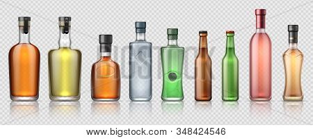 Realistic alcohol bottles. Transparent glass containers for whiskey, tequila, vermouth and other alcoholic beverages. Vector isolated set luxury bottle for beverage or premium drink stock photo