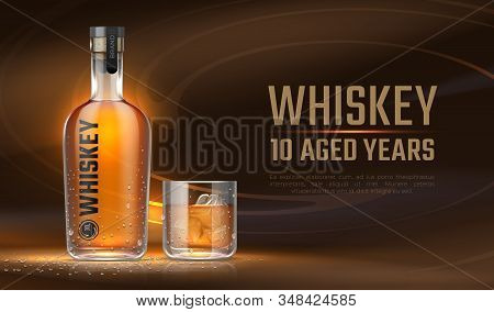 Whiskey ad. Realistic bottle with alcoholic beverage, advertisement banner with glass bottle mockup and liquid. Vector banner 3D alcoholic drink for advertising company or package label stock photo