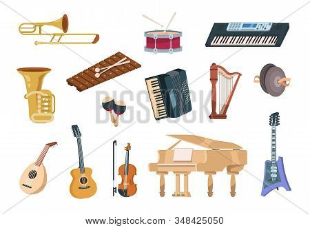 Cartoon musical instruments. Acoustic, electric, string and wind musical instruments with piano, guitars and drums. Vector isolated set audio entertainment elements concert instrument stock photo