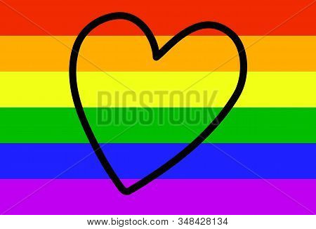 LGBT Rainbow Flag with Outline Heart. The concept of homosexual love, gay lesbian bisexual transgender people. The Movement for the Rights of Sexual Minorities. Stock vector illustration isolated. stock photo