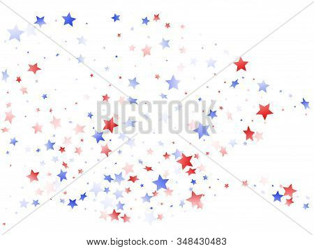 American Patriot Day stars background. Holiday confetti in US flag colors for Patriot Day.  Gradient red blue white stars on white American patriotic vector. 4th of July stardust scatter. stock photo