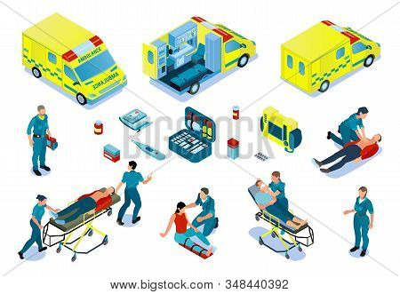 Ambulance car isometric set with paramedics providing first aid victim persons after accidents or assisting sick vector illustration stock photo
