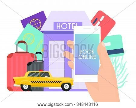 Online tourism and booking app concept vector illustration. Travel application service. On line purchase or book of summer holiday tickets stock photo
