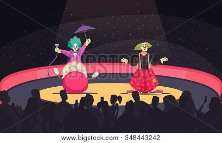 Cartoon background with two clowns wearing funny costumes performing at circus vector illustration stock photo