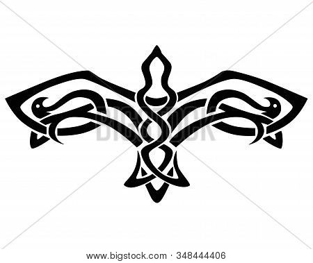 Flying bird tattoo. Falcon with spread wings - a linear vector illustration in Celtic style. Vector symmetrical pattern in the form of a flying falcon. The symbol is a flying bird. stock photo