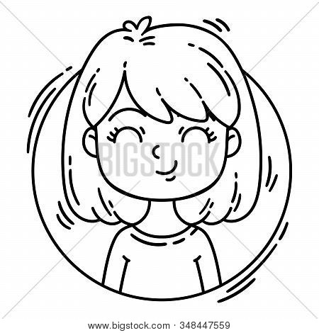 Female character in cartoon style. Avatar girl in a circle. Black and white illustration isolated on white background. Character for web. stock photo