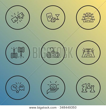 Activity icons line style set with football stadium, stress ball, casino and other military elements. Isolated illustration activity icons. stock photo