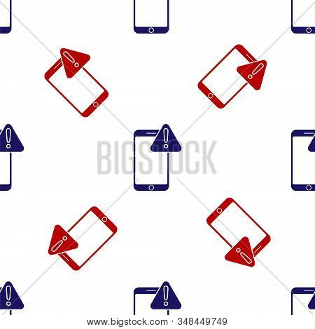 Blue and red Mobile phone with exclamation mark icon isolated seamless pattern on white background. Alert message smartphone notification. Vector Illustration stock photo