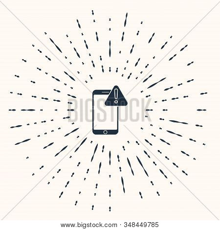 Grey Mobile phone with exclamation mark icon isolated on beige background. Alert message smartphone notification. Abstract circle random dots. Vector Illustration stock photo