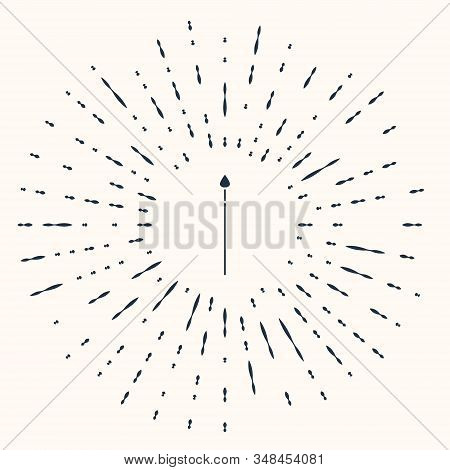 Grey Medieval spear icon isolated on beige background. Medieval weapon. Abstract circle random dots. Vector Illustration stock photo
