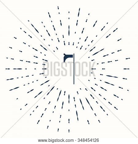 Grey Medieval axe icon isolated on beige background. Battle axe, executioner axe. Medieval weapon. Abstract circle random dots. Vector Illustration stock photo