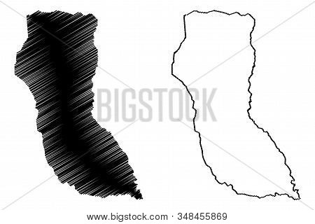 North-East District (Districts of Botswana, Republic of Botswana) map vector illustration, scribble sketch North East map stock photo