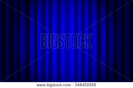 Blue stage curtain realistic vector. Closed silky luxury blue curtain stage background spotlight. Blue stage curtains with spot light. stock photo