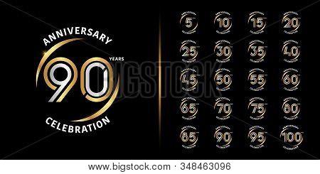 Set of premium anniversary logotype. Golden and silver anniversary celebration emblem design for company profile, leaflet, magazine, brochure, web, banner, invitation or greeting card. Vector illustration. stock photo
