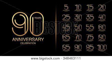 Set of premium anniversary logotype. Golden anniversary celebration emblem design for company profile, leaflet, magazine, brochure, web, banner, invitation or greeting card. Vector illustration. stock photo