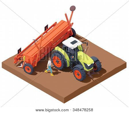 Vector isometric tractor with seed drill or seeder working in field. Green tractor seeding crops at filed, planting seed in soil. Farmer calibrating seed drill. Sowing process with modern agricultural machinery stock photo