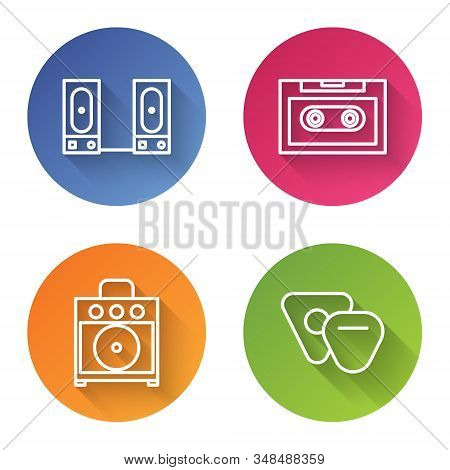 Set line Stereo speaker, Retro audio cassette tape, Guitar amplifier and Guitar pick. Color circle button. Vector stock photo
