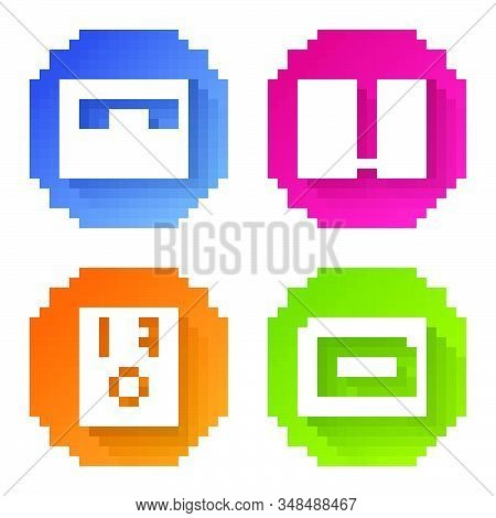 Set line Piano, Stereo speaker, Stereo speaker and Guitar amplifier. Color circle button. Vector stock photo