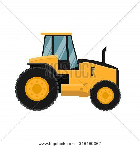Vector design of agricultural tractor. Heavy agricultural machinery for agricultural work stock photo