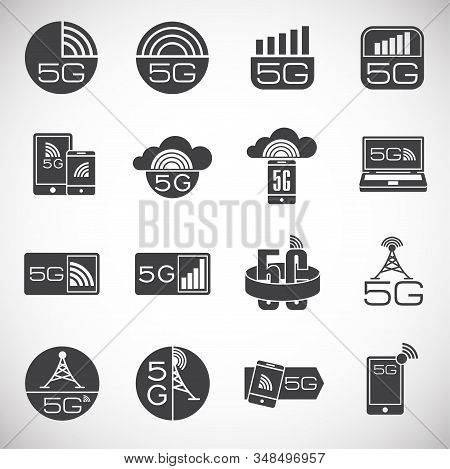 5G related icons set on background for graphic and web design. Creative illustration concept symbol for web or mobile app stock photo