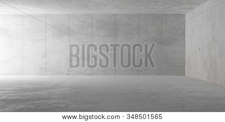 Abstract empty, modern concrete room with indirect lighting from side wall, rough floor and panel backwall - industrial interior background template, 3D illustration stock photo