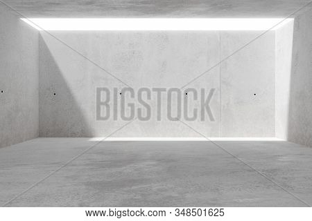 Abstract empty, modern concrete room with light from ceiling and rough floor - industrial interior background template, 3D illustration stock photo