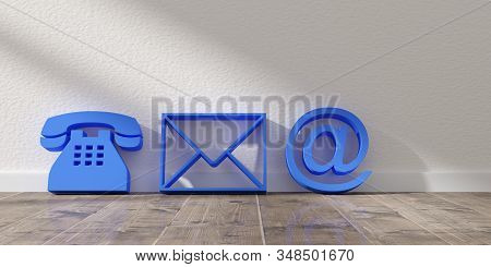 Blue telephone, envelope letter and e-mail symbols leaning against wall background with wooden floor, contact us symbols or banner, 3D illustration stock photo