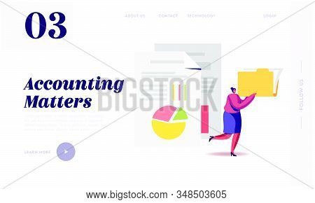 Audit Analysis Inspection Website Landing Page. Woman with Files Folder Analysing Accounting Data, Earnings Savings, Loan and Credit Spreadsheets Web Page Banner. Cartoon Flat Vector Illustration stock photo