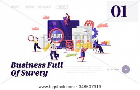Financial Administration and Audit Website Landing Page. Analysis, Statistics and Business Statement. Accounting Report Auditing Tax Process Paperwork Web Page Banner. Cartoon Flat Vector Illustration stock photo
