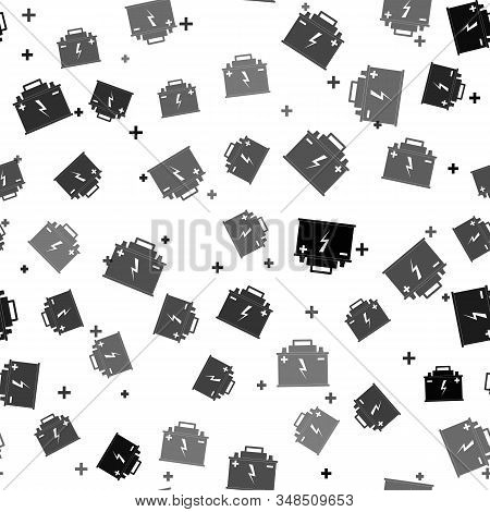 Black Car battery icon isolated seamless pattern on white background. Accumulator battery energy power and electricity accumulator battery. Lightning bolt symbol. Vector Illustration stock photo