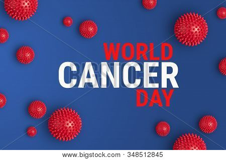 Text WORLD CANCER DAY on blue background with red abstract cells of cancer. World Cancer Day is memorable date celebrated annually on February 4. International Day Against Cancer banner stock photo