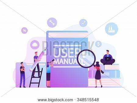 User Manual Concept. People with Some Office Stuff Discussing Content of Guide. Requirements Specifications Document. People Read Book with Instructions for Equipment. Cartoon Flat Vector Illustration stock photo