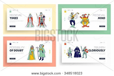 Medieval Historical Characters Website Landing Page Set. Royal Queen and King Couple, Monk Bard Singer Knight, Peasant in Historic Costumes Web Page Banner. Cartoon Flat Vector Illustration, Line Art stock photo
