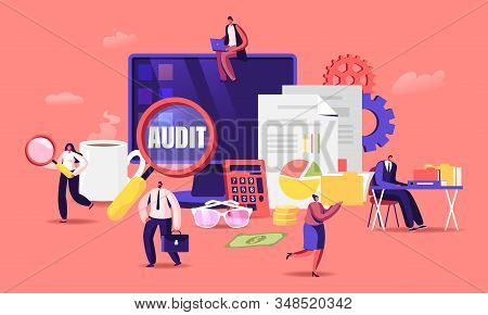 Financial Administration and Audit Concept. Consulting for Company Performance, Analysis, Statistics and Business Statement. Accounting, Report, Auditing Tax Process. Cartoon Flat Vector Illustration stock photo