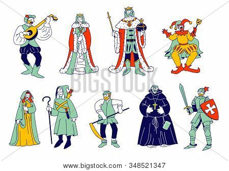 Set of Medieval Historical Characters. Royal Queen and King, Monk Bard Singer Knight, Peasant in Historic Costumes Fairytale Ancient Heroes Isolated on White Cartoon Flat Vector Illustration, Line Art stock photo